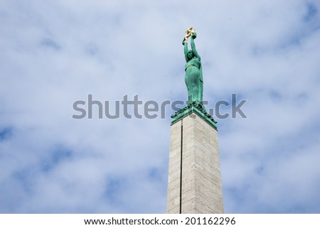 The statue of Liberty in Riga, Latvia. (horizontal). - stock photo