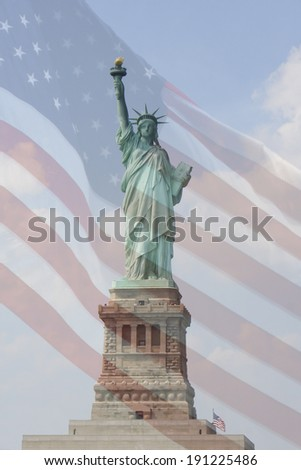 The Statue of Liberty is shown with an American flag overlay. - stock photo