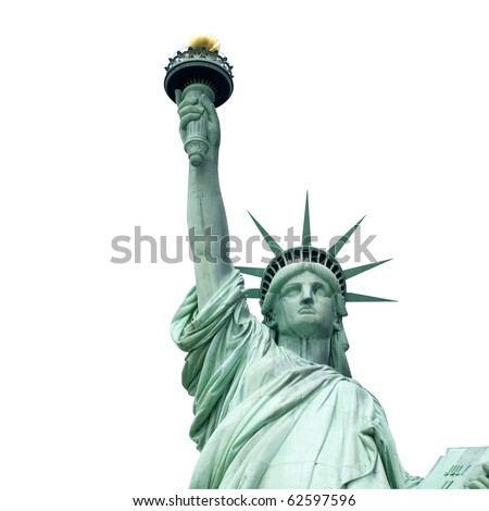 The Statue of Liberty isolated on white - stock photo