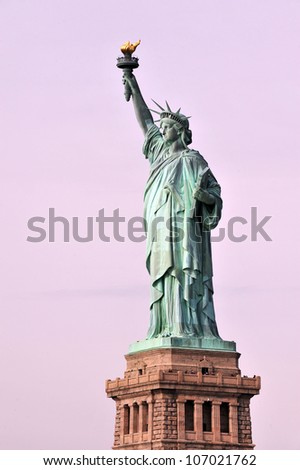 The Statue of liberty Manhattan, New York, USA. - stock photo