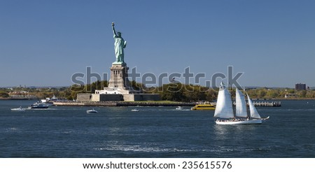 The Statue of Liberty on Liberty Island at New York City - stock photo