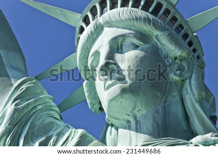 The Statue of Liberty on Liberty Island at New York City. The Detail - stock photo