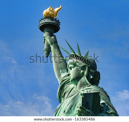 The Statue of Liberty on the Liberty Island in New York city, USA. - stock photo
