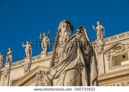 The statue of Saint in Roman Catholic. The sculptures locate in front of St. Peter's Basilica, Vatican city. - stock photo