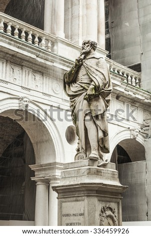 The statue of the famous Italian architect of the Renaissance Andrea Palladio, placed by the Basilica palladiana in Vicenza - stock photo