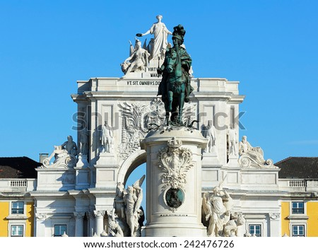 the statue of the King  Jose I and the Arch of Triumph of Rua Augusta, Lisbon, Portugal - stock photo