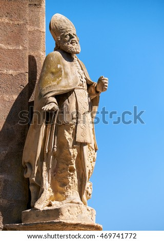 The statue of the Saint Publius,  the first Bishop of Malta, on the corner of the Customs House at Lascaris Shore. The St. Publius received the Apostle Paul during his shipwreck on the island.