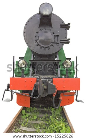 The steam locomotive isolated over white with clipping path. - stock photo