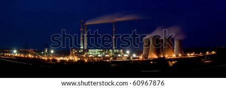 the steam turbine power plant Pocerady by night - Czech Republic - stock photo