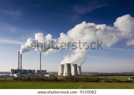 the steam turbine power plant Pocerady - Czech Republic - stock photo