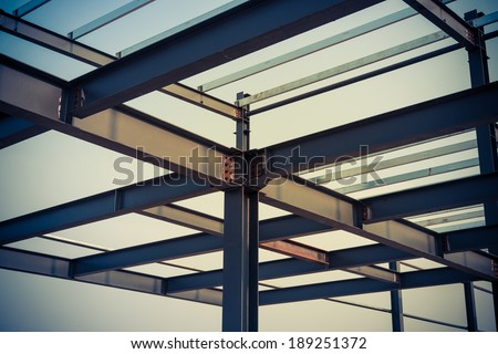 The steel frame, the half built site - stock photo