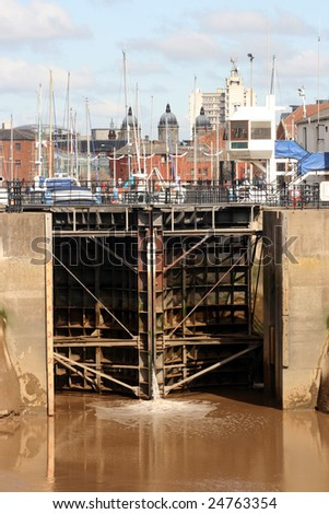 The Steel Gates to the Marina in Kingston upon Hull
