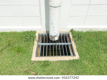 The steel grating for drainage water.Drainage for rain. - stock photo