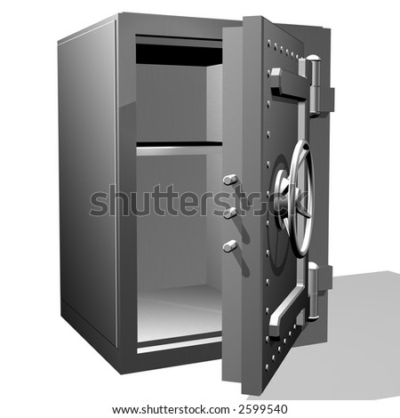 The steel safe with the open door - stock photo