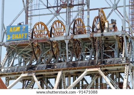 The steel structure of the headgear of a gold mine in South Africa - stock photo
