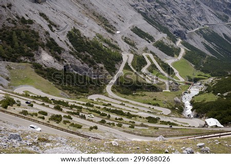 The Stelvio Pass, mountain pass in northern Italy, at an elevation of 2,757 m  - stock photo