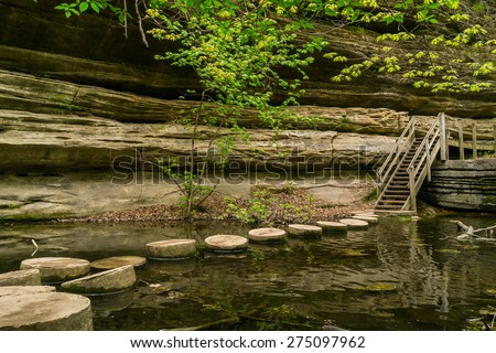 The stepping stones across the stream at Matthiessen, Illinois. - stock photo