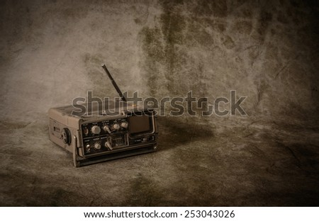 the still life retro radio on grunge background - stock photo