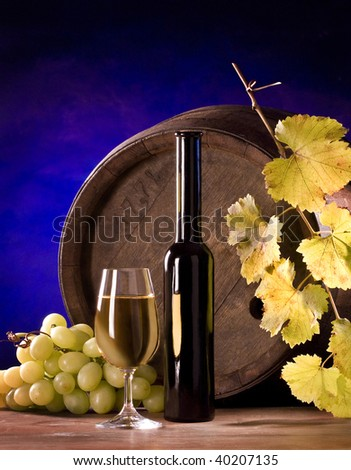 the still life with wine and almonds - stock photo