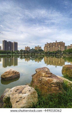 The stone and building near the lake - stock photo
