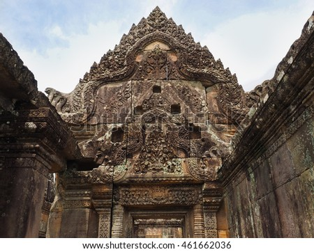 the stone carving about hindu mythology at Gopura in Preah Vihear Temple. Preah Vihear Temple is the latest ancient temple in Cambodia listed as a UNESCO World Heritage Site.