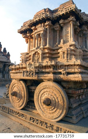 The stone chariot at Vitthala temple, 15th century, Hampi - ancient town Vijayanagar, state of Karnataka, India - stock photo