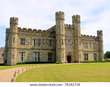 The stone facade of Leeds Castle near Maidstone, Kent, England - stock photo