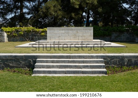 The stone of Remembrance, WWI Mikra British Military cemetery, Thessaloniki, Greece - stock photo