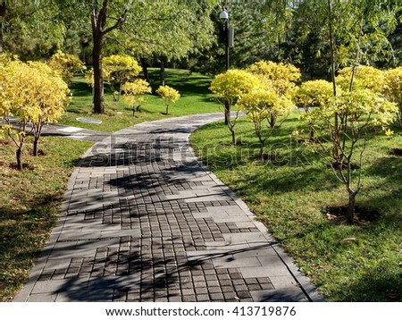 the stone road in the garden - stock photo