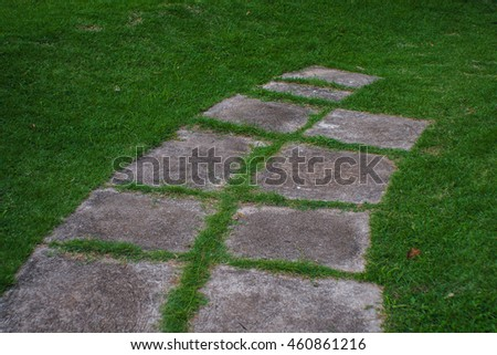 The stone walkway in the grass.