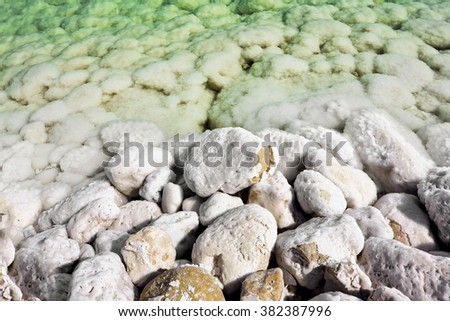 The stones are covered with a crust of salt on the shores of the Dead sea in Israel - stock photo