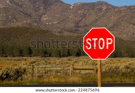 """The """"Stop Sign"""" out on the country road. - stock photo"""