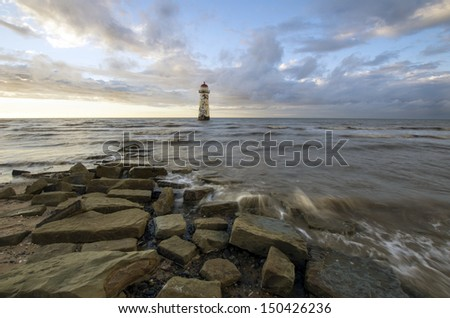 The storm is ending - The storm leaving, passing over the Point of Ayr, Talacre, North Wales - stock photo