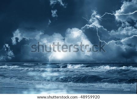 the storm on sea from lightnings on background of clouds