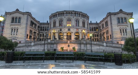 The Storting is the supreme legislature of Norway, located in Oslo. Parliament was established by the Constitution of Norway in 1814 and is designed by Emil Victor Langlet. - stock photo