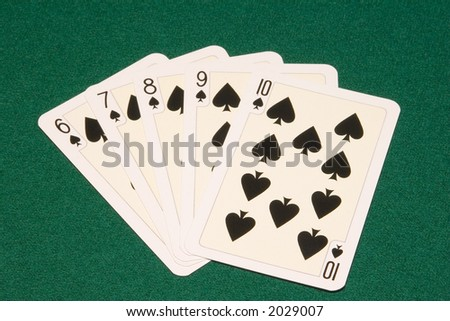 the straight flush combination on green cloth