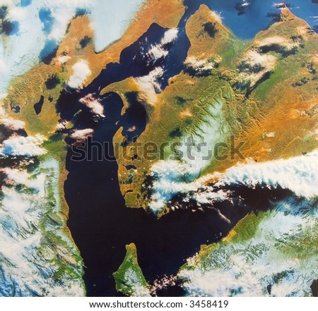 The Strait of Magellan, South America - bird's-eye view - stock photo