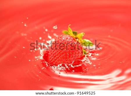 The strawberry falls in own juice - stock photo