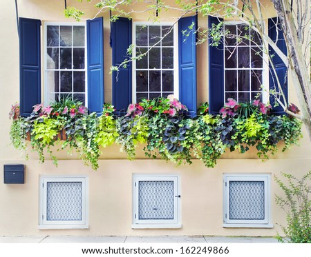 The street front of an old town house built in the seventeen hundreds in Charleston, South Carolina.