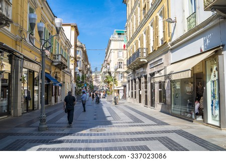 The street in San Remo - downtown, Italy 20.06.2015 - stock photo
