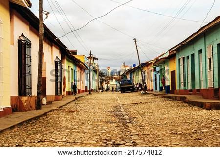 The street in Trinidad - stock photo