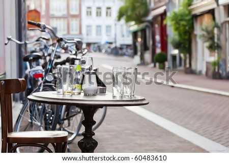 The street scene in Amsterdam - stock photo