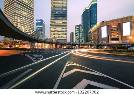 The street scene of the century avenue at night in shanghai,China - stock photo