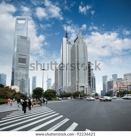 the street scene of the century avenue in shanghai,China. - stock photo