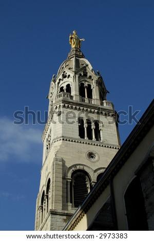 the street-side part of Basilique de Fourviere. Lyon. France. - stock photo