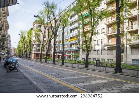 The street with ancient buildings in the center of Milan, Italy 20.04.2015 - stock photo