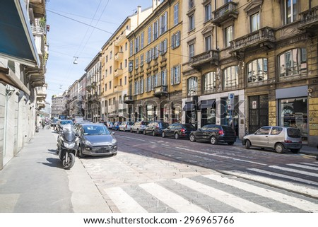 The street with ancient buildings in the center of Milan, Italy 20.04.2015
