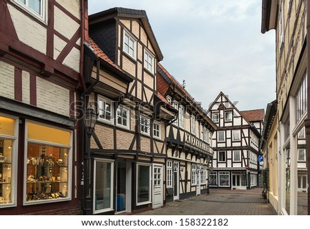 The street with historical half-timbered houses in the old city of Celle, Germany