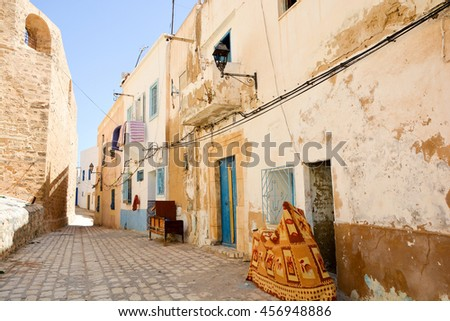 The streets and architecture in the old town Medina in Sousse.Tunisia - stock photo