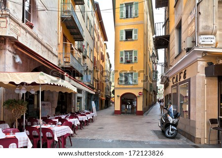 The streets of old Nice. France. - stock photo
